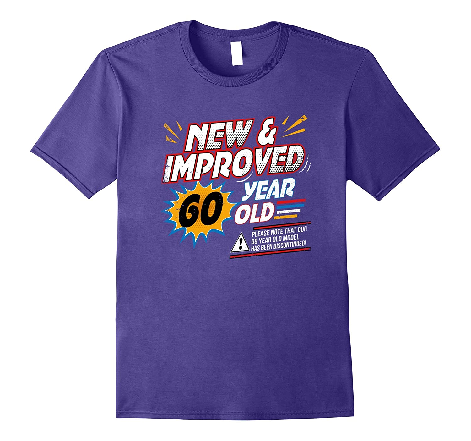 New Improved 60 Yr Old Funny Comic 60th Bday T-Shirt Art-Art