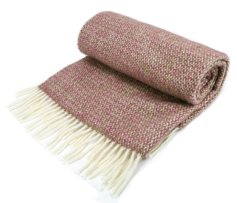 Illusion Pure New Wool Knee Rug Throw Small Blanket - Apple/Raspberry British Made