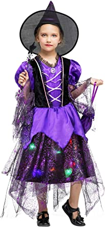 Amazon Com Cloudkids Girls Halloween Witch Costumes Light Up Kids Witch Costume Fancy Dress With Accessories Clothing