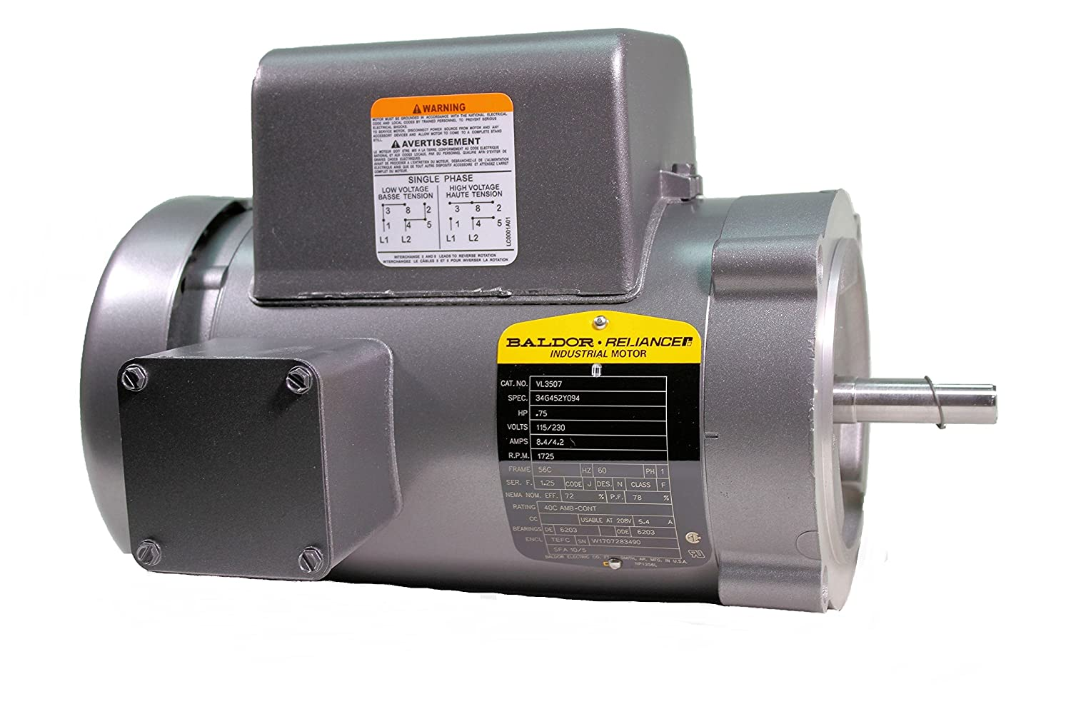 Baldor VL3507 General Purpose AC Motor, Single Phase, 56C Frame, TEFC Enclosure, 3/4Hp Output, 1725rpm, 60Hz, 115/230V Voltage