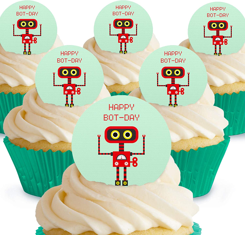 Cakeshop - Decoración comestible para tartas, diseño de robot rojo y negro Adornos de obleas de papel precortadas, 12 unidades: Amazon.es: Alimentación y bebidas