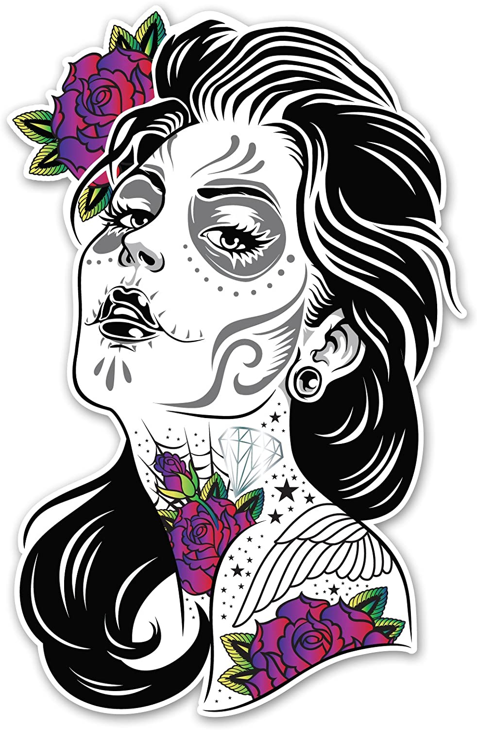 - Amazon.com: Ninja Pickle Sugar Skull Girl With Colored Roses Decal
