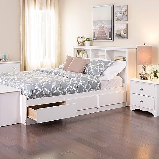 Prepac Full Mate's Platform Storage Bed with 6 Drawers, White