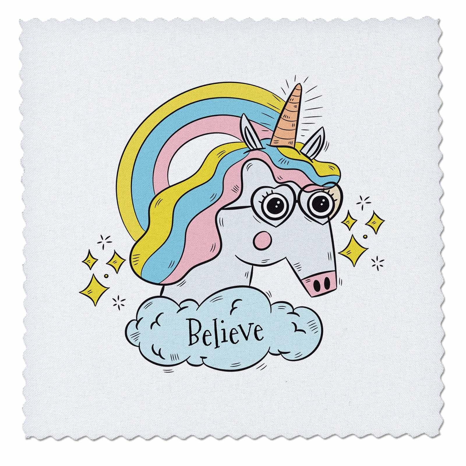 3dRose Sven Herkenrath Animal - Funny Fantasy Unicorn with Sunglasses Believe - 18x18 inch quilt square (qs_280356_7)