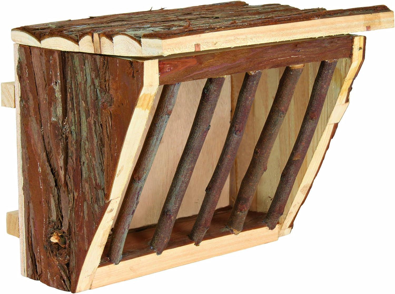 Trixie 61191 Comedero Heno con Tapa, Corteza Tronco, 20 x 15 x 17 cm