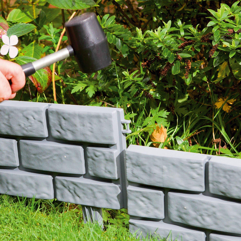 Parkland/® Bordure de jardin Effet brique A enfoncer Pack of 4 gris