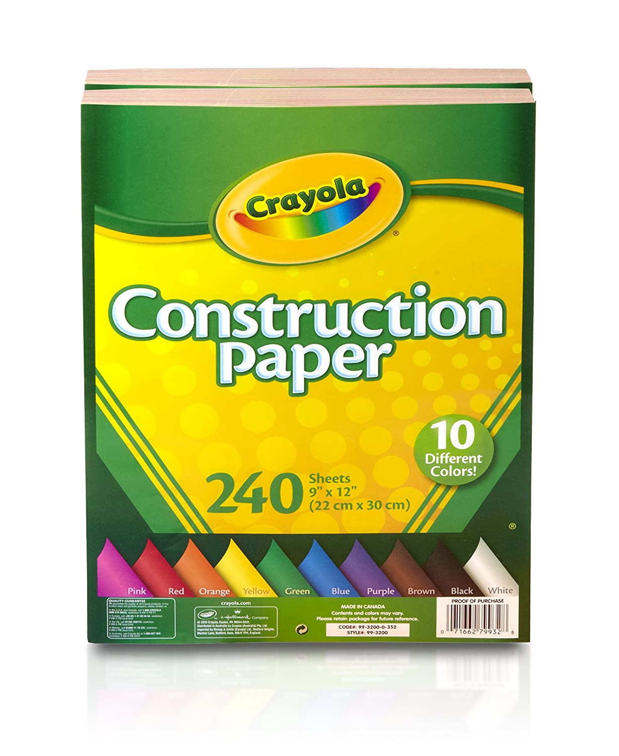 Amazon.com: Crayola Construction Paper, 480 Count, 10 Colors, Great ...
