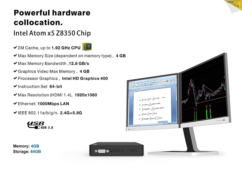 Mini PC,Intel x5-Z8350 HD Graphics Fanless Mini Desktop Computer,Windows 10  64-bit,4GB/64GB Storage/4KHD/Dual Band WiFi AC/Bluetooth 4 2