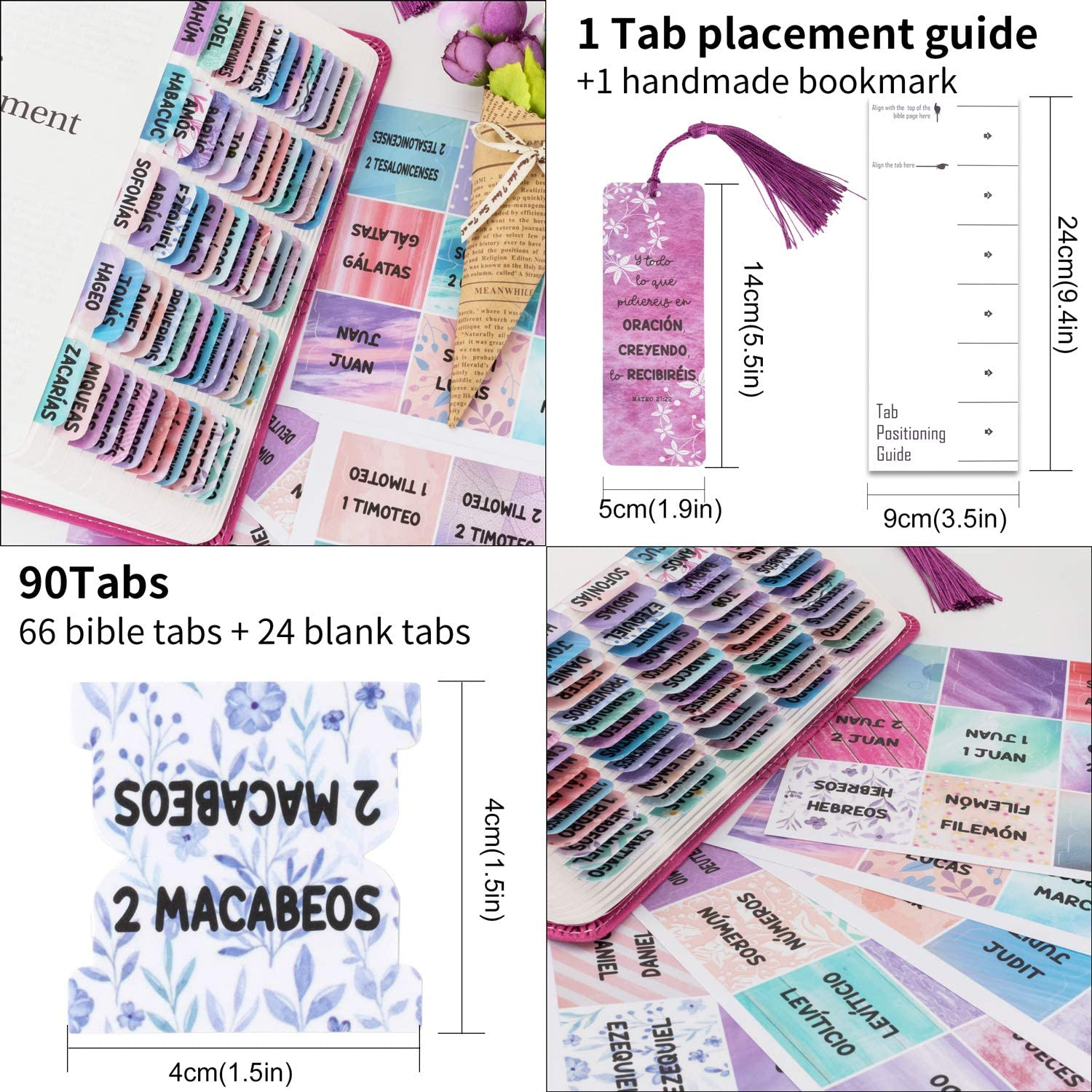 Laminated Purple Catholic Spanish Bible Indexing Tabs for Old and New Testament Large Print 90 tabs in Total Spanish Bible Tabs for Women Easy to Read 73 Bible tabs + 17 Blank tabs
