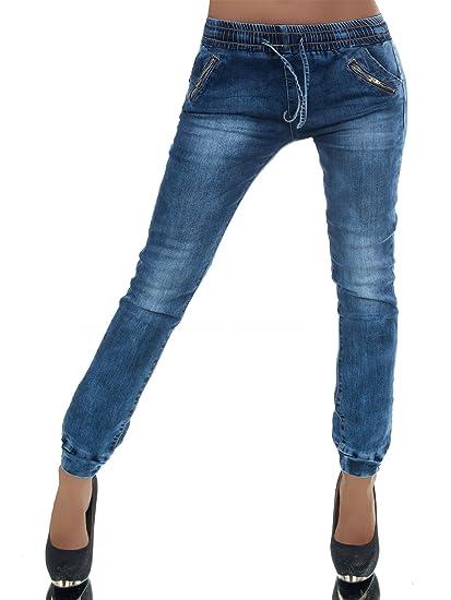 FASHION BOUTIK jeans bleu fonçé avec lien resserré aux chevilles femme sexy  tendance fashion (w38 37e3268a6317