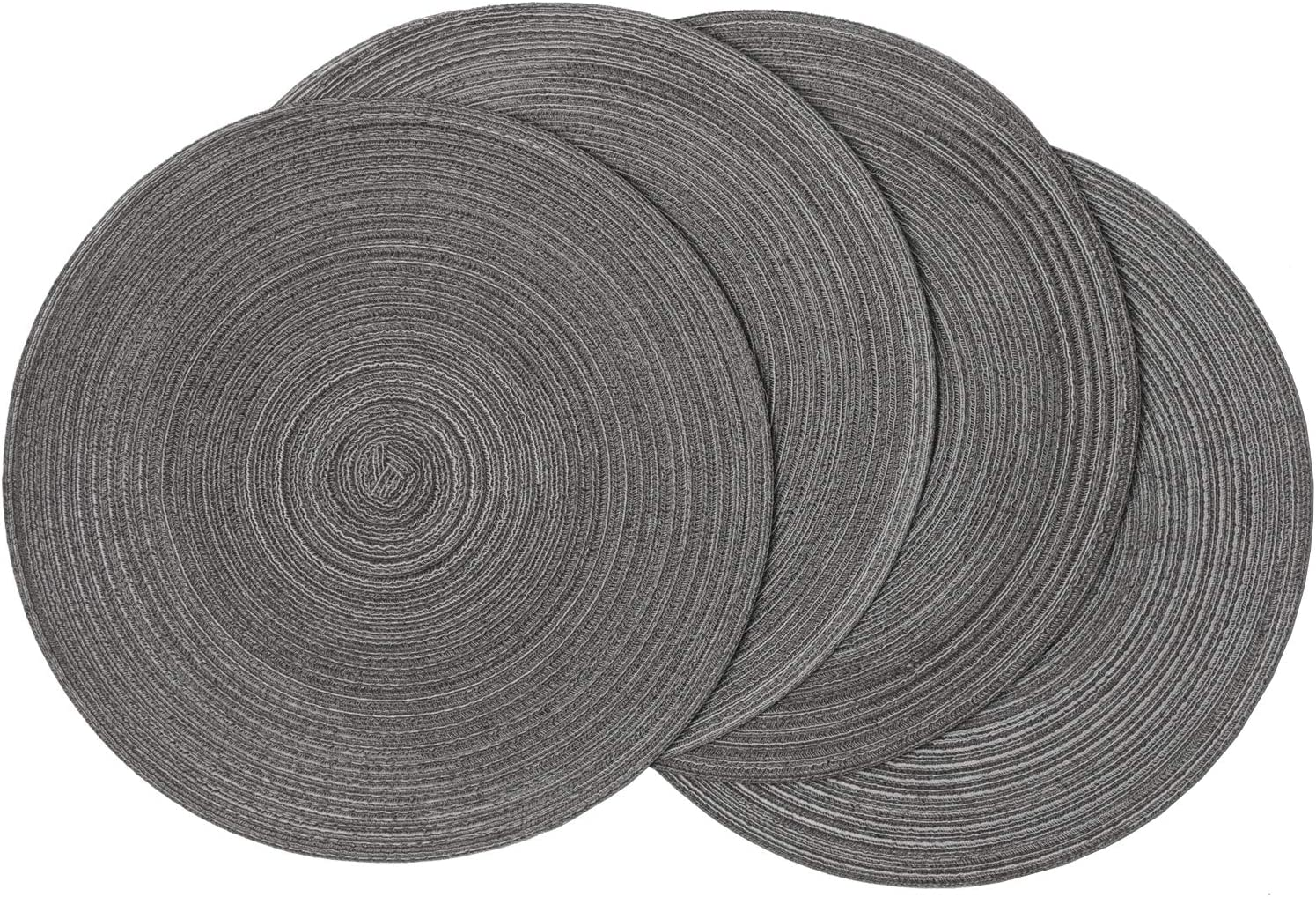 SHACOS Round Placemats Set of 4 Round Table Placemats Braided Cotton Place Mats 15 inch for Kitchen Dining Table Holiday Party (Black Grey, 4)