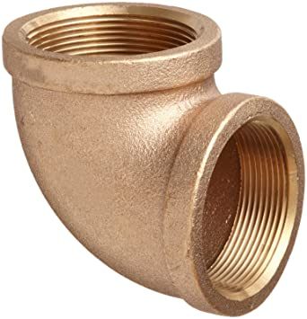 90 Degree Reducing Elbow Brass Pipe Fitting 1 x 3//4 NPT Female Class 125