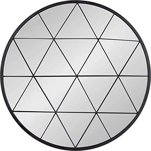 Kate and Laurel Faber Round Accent Mirror, 31.5 , Matte Black, Decorative Wall Art with Intricate Geometric Overlay, Modern Decor for Wall Display