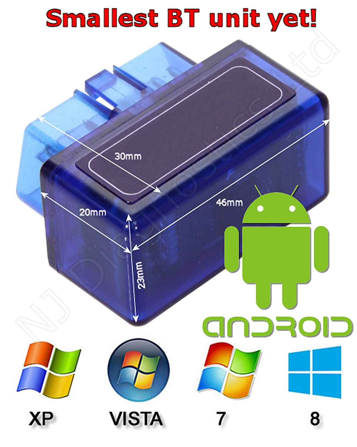 Supper Mini Bluetooth Car Code Reader Compatible with Android//Droid//Torque Support OBD2 OBD II ELM327 Power 2 Blue