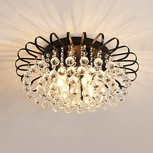 Semi Flush Mount 4-Light Crystal Chandelier Modern Black Ceiling Lighting Fixture Farmhouse Lighting