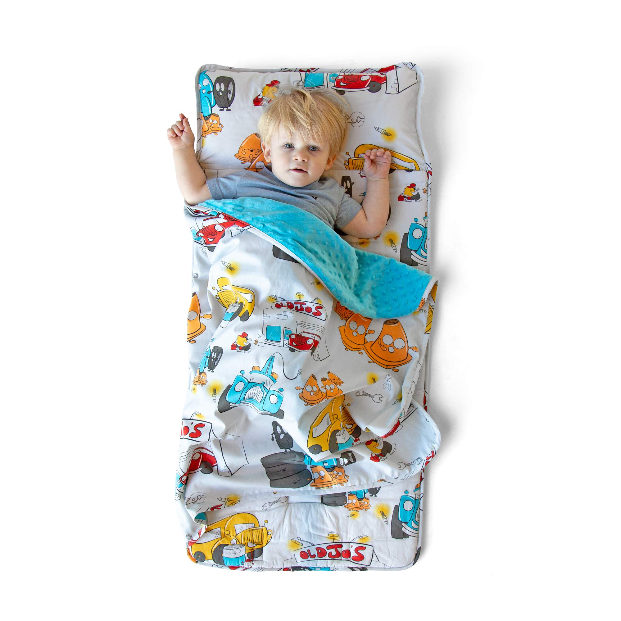 JumpOff Jo Toddler Nap Mat, Sleeping Bag for Preschool and Daycare, Jo's Garage, 43 x 21 Inches