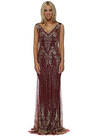198c92fe Lucy Wang Burgundy & Gold Glitter Sequins Fishtail Evening Dress X Large  Burgundy