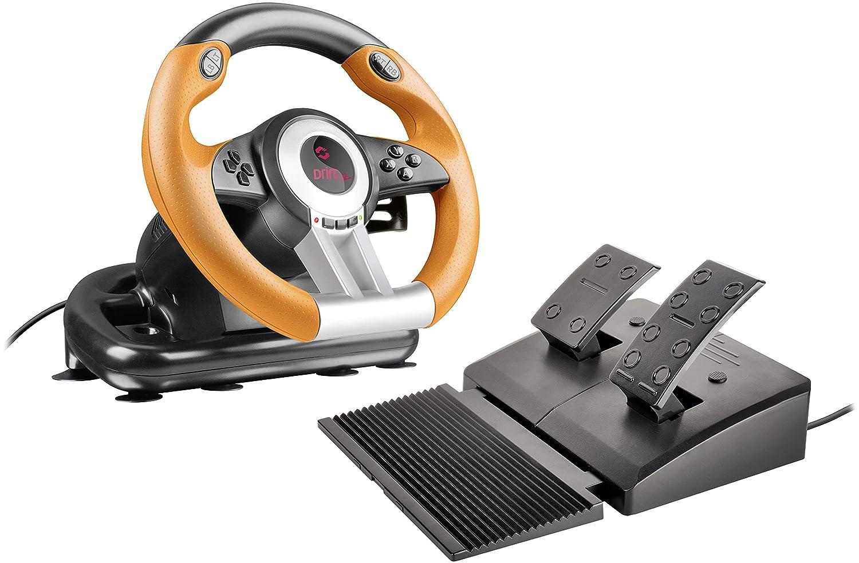 Speedlink DRIFT O.Z. Racing Wheel - USB Gaming Lenkrad für den PC (Kompatibel mit Windows-Betriebssystemen ab XP - Pedale für Gas und Bremse) für Gaming/Computer/Notebook/Laptop, schwarz-orange
