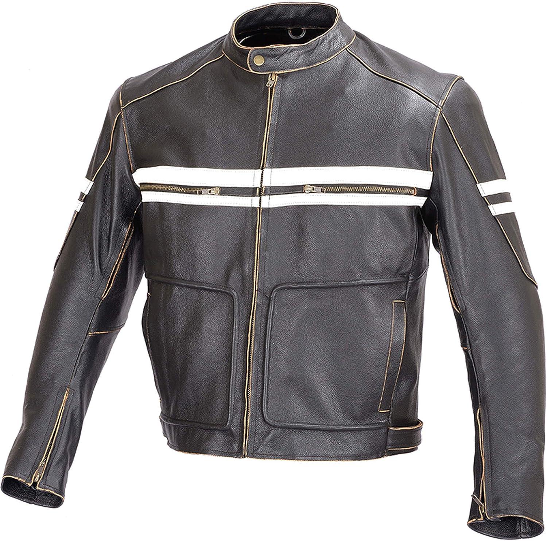 M Men Motorcycle Vintage Hand Buffed Leather Armor Jacket Black MBJ031