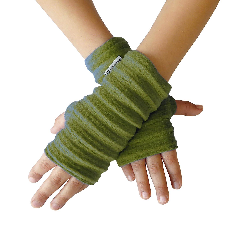 Wristee®, Kids Unisex fingerless gloves & wrist warmers for Girls & Boys (Infant, Moss)