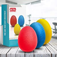 N1Fit Hand Grip Strength Trainer, Stress Ball for Adults and Kids, Hand Therapy Ball Squishy - Set of 3 Stress Relief…