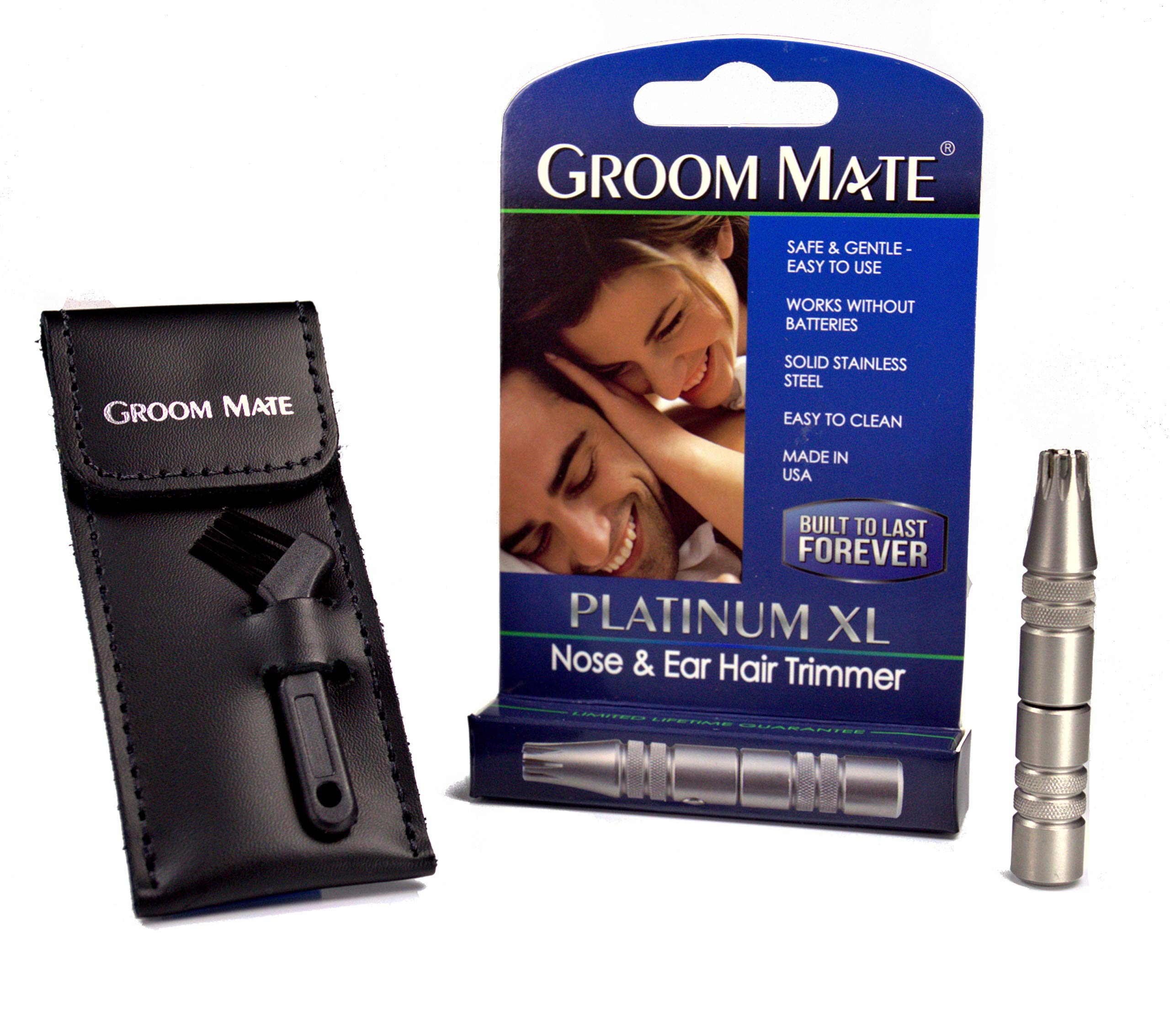 Groom Mate Platinum XL Plus - Nose Hair Trimmer -w/Pouch & Brush - Lifetime Warranty - Made in The USA by Groom Mate