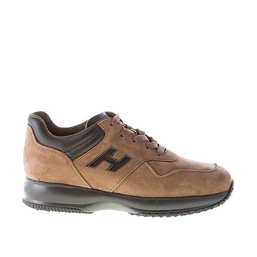 Hogan Uomo Interactive Sneaker in Nabuk Marrone e Pelle Nero  Amazon.it   Scarpe e borse 05f0eef25a5