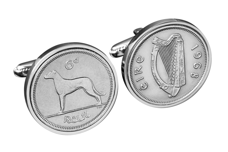 Lucky Irish Sixpence Cufflinks for Men- Handmade Genuine Ireland coin Cufflinks - 100% satisfaction
