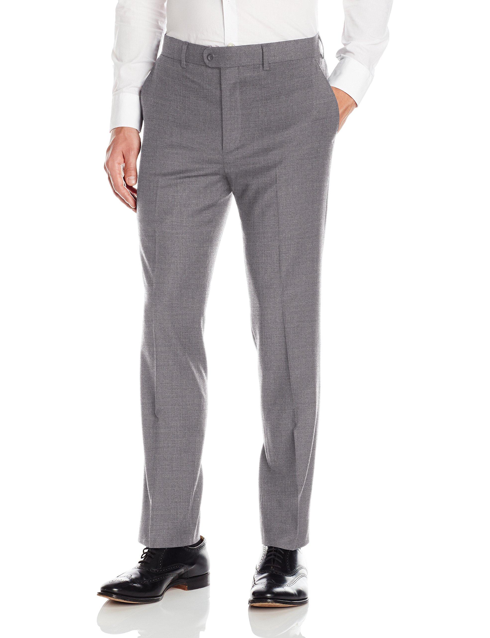 Bensol Men's Flat Front Slim Fit Wool Gabardine Pant, Medium Grey, 34W X 32L by Bensol
