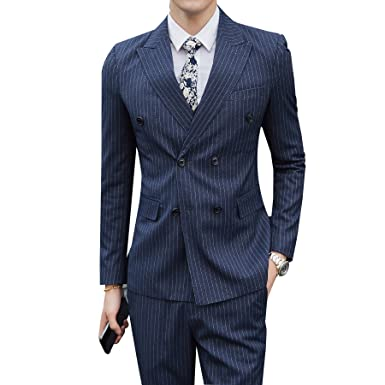 Vague Star Striped Double Breasted Mens Slim Fit 3 Piece Suit 6031