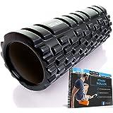 Rodillo de espuma para masaje muscular ✓Libro de ejercicios incluido, diseño de rejilla para accionar la terapia de puntos para el dolor de espalda y los músculos de las piernas - 33 x 14 cm