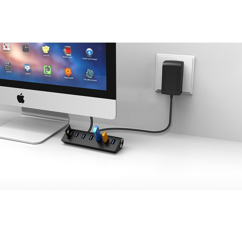Black MacBook Air Mac Pro,MacBook Pro PCs and Laptops Cateck USB 3.0 6-Port Aluminum Hub with 2-Slot Card Reader Combo and 5V//4A High-Capacity Power Supply for iMac MacBook Mac Mini