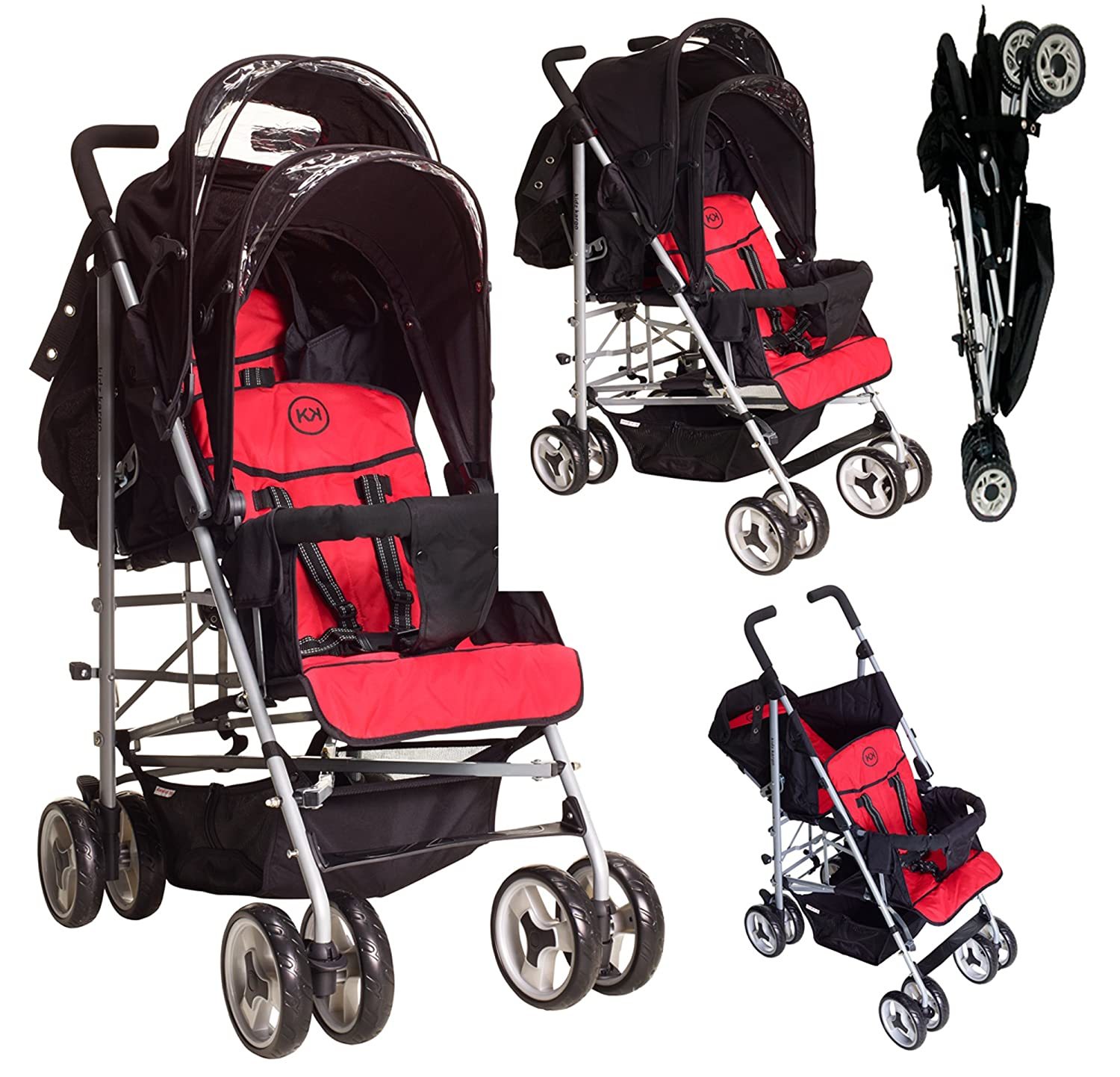 Duo Double Twin Tandem Pushchair by Kids Kargo 2 seat units fully reclining lie back at the rear Suitable for newborn or up to 33lb 15kg front seat from