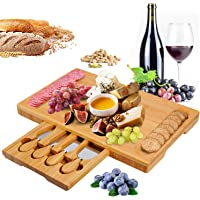 Bamboo Cheese Board and Knife Set, Cheese Plate Charcuterie Platter Serving Tray for Wine, Crackers, Brie and Meat…