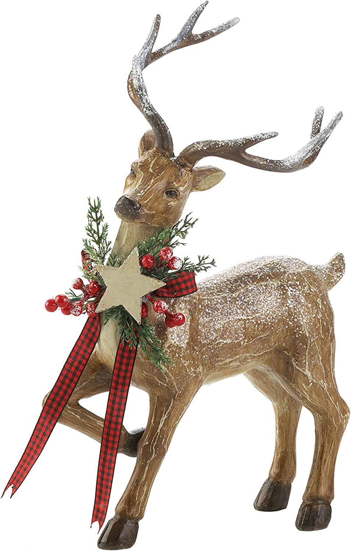 Christmas Collection Rustic Reindeer Figurine, Looking Sideways