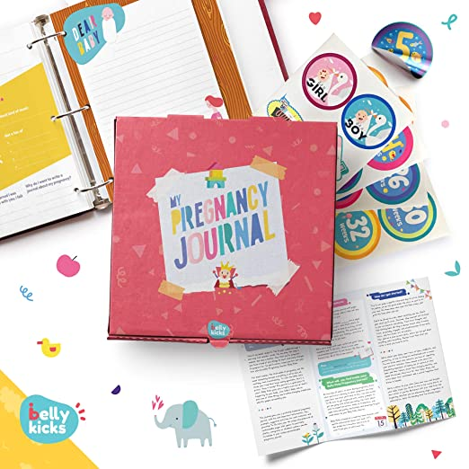 My Pregnancy Journal with 120 Pages That Can Be Rearranged Weekly & 40 Milestone Stickers | Scrapbook for First Time Moms | Book Included in a Keepsake Box | Baby Memory Books for Girls & Boys