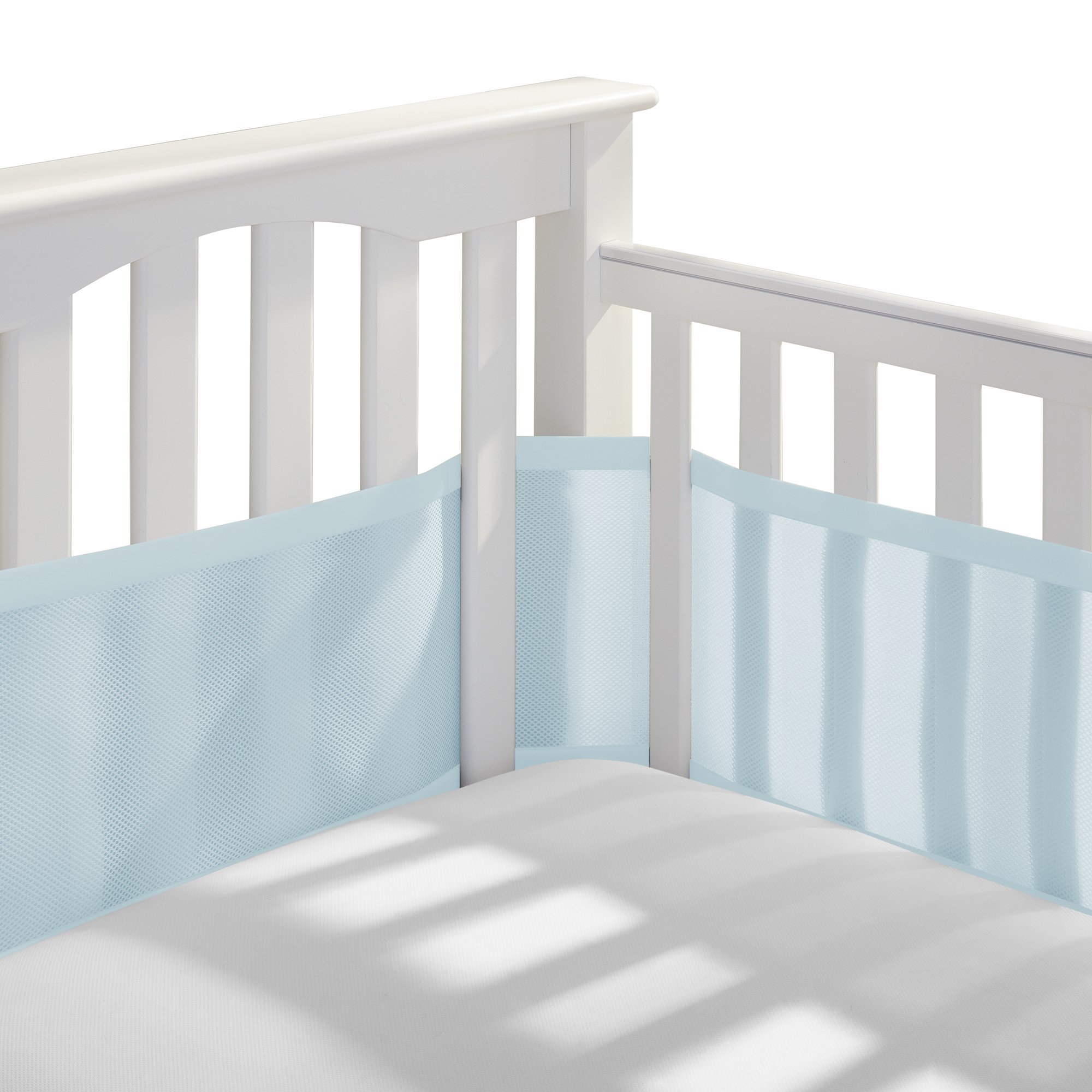 BreathableBaby Classic Patented, Safer for Baby, Anti-Bumper, Non-Padded, Breathable Mesh Crib Liner - Blue Aqua by BreathableBaby