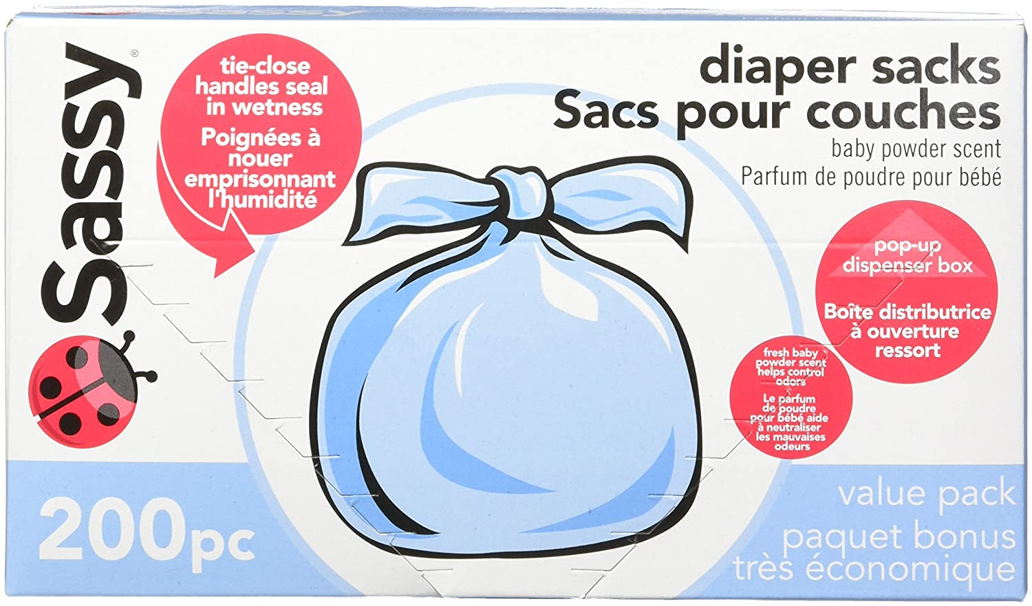 B0007V644S Sassy Baby Disposable Diaper Sacks, 200 Count, Packaging may vary 81XKSqQIGfL