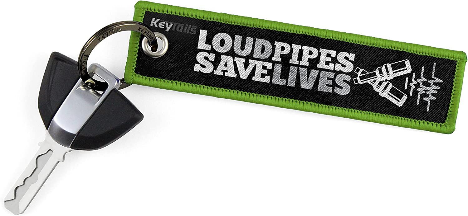 Scooter UTV Loud Pipes, Save Lives Premium Quality Key Tag for Motorcycle KEYTAILS Keychains ATV