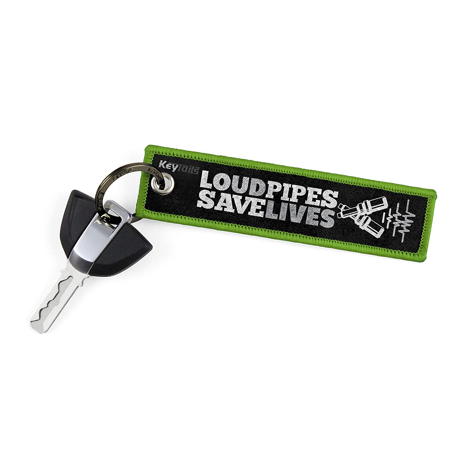 Premium Quality Key Tag for Motorcycle KEYTAILS Keychains Loud Pipes, Save Lives UTV ATV Scooter