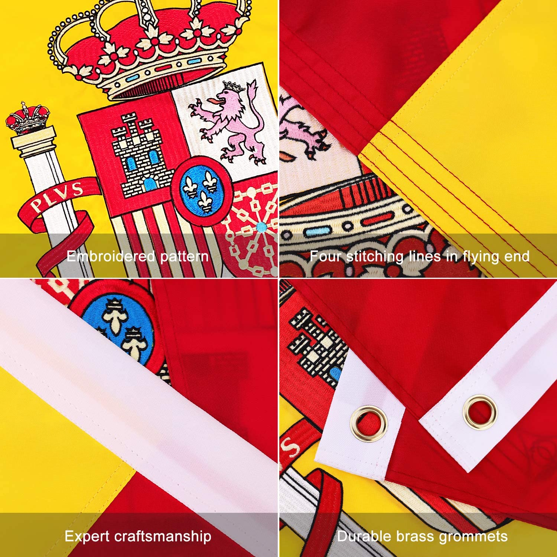 FLAGBURG Bandera de España Nylon 100% Duradero, Patrón Bordado con ...