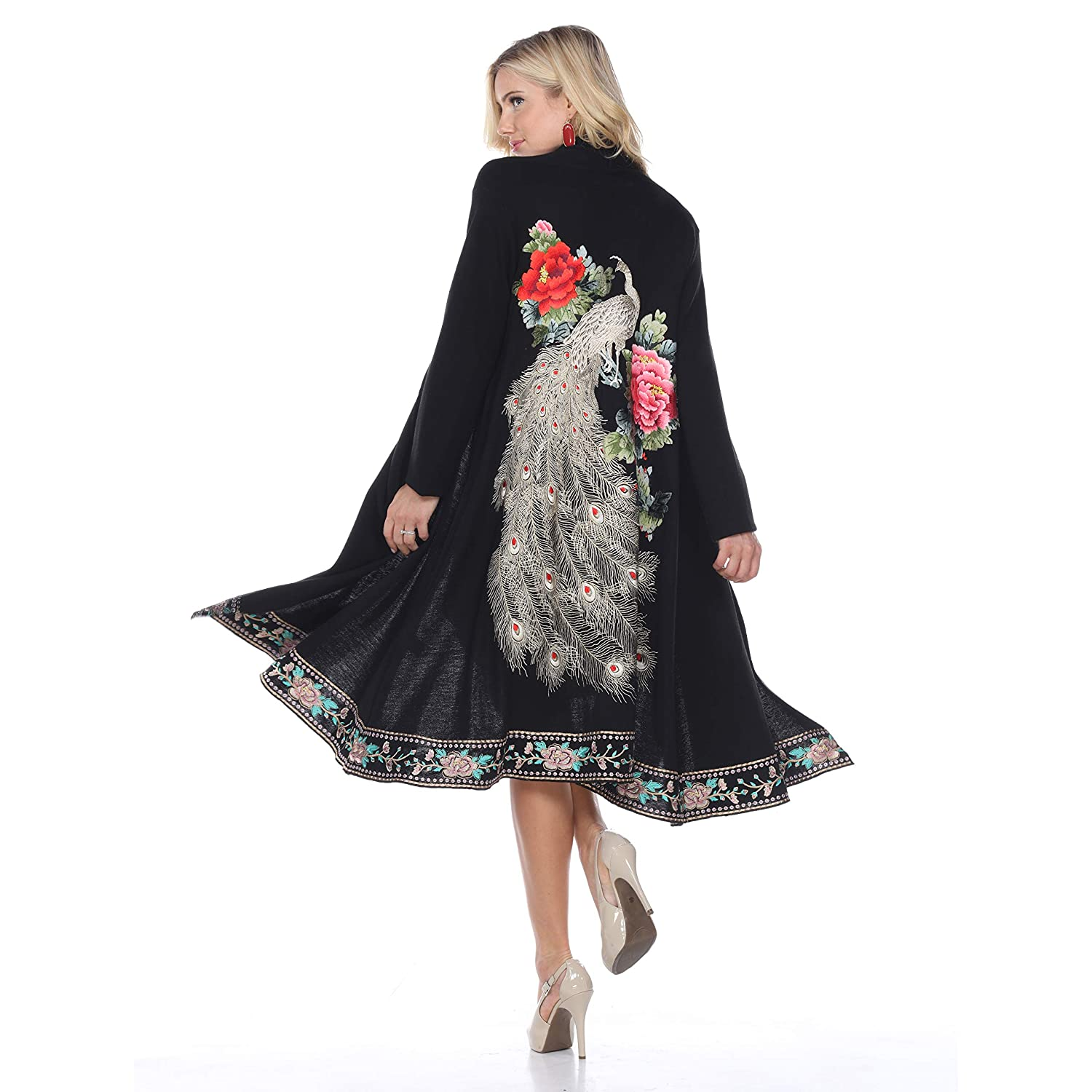 1920s Style Shawls, Wraps, Scarves Aris A Women Vintage Embroidered Peacock Cardigan $344.99 AT vintagedancer.com