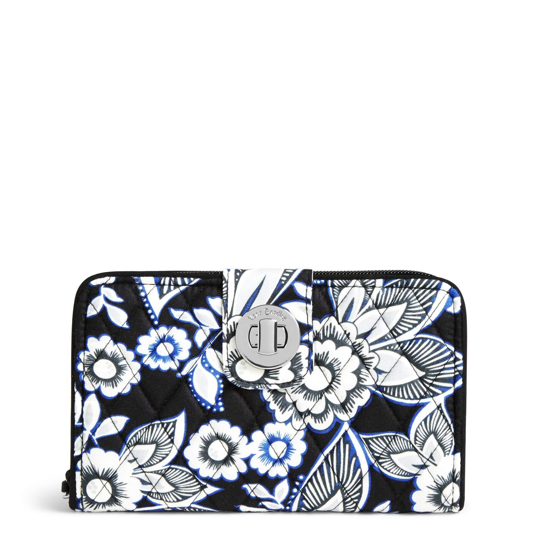 Vera Bradley Women's RFID Turnlock Wallet, snow lotus One Size
