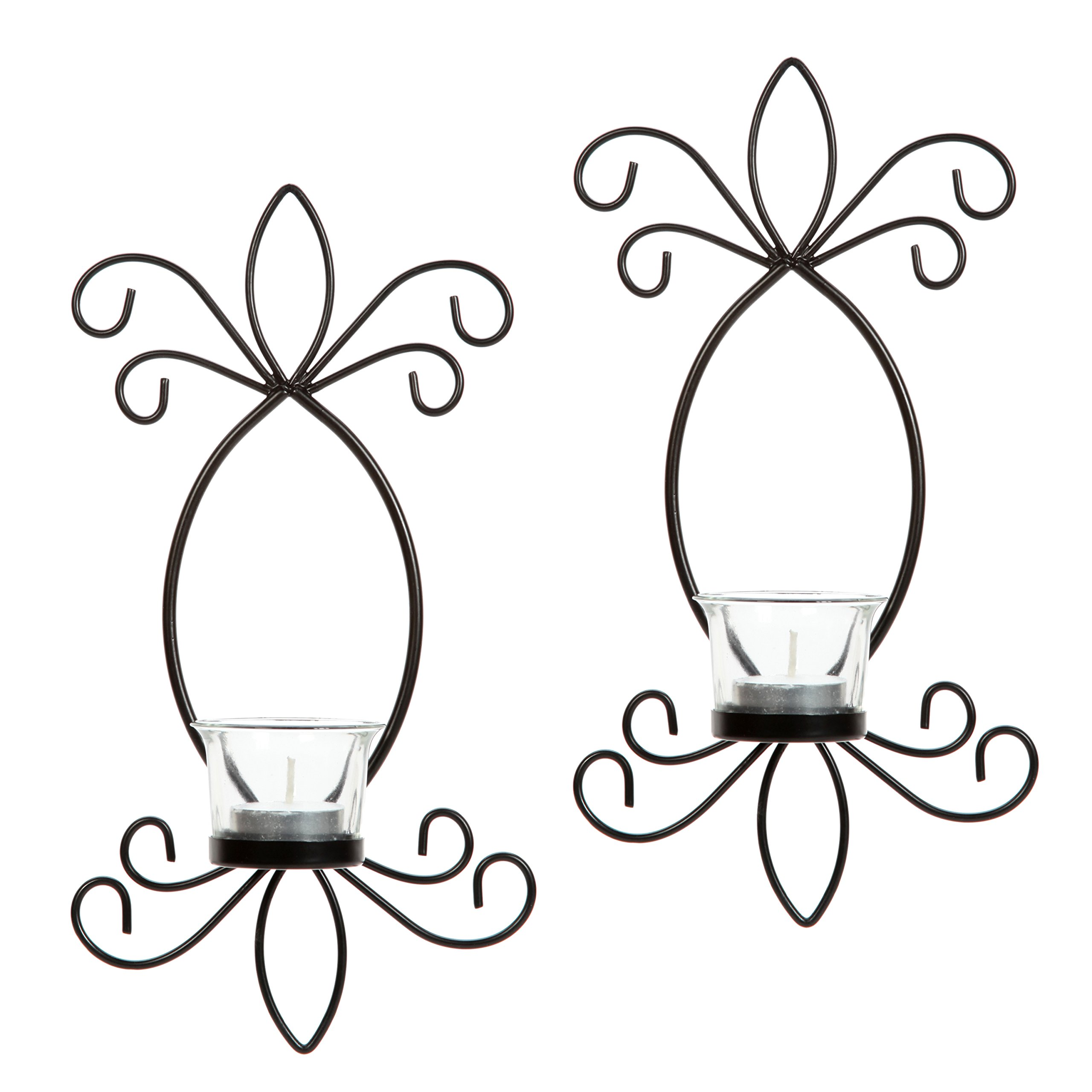 Hosley Set of 2 Iron Tea Light LED Candle Wall Sconces- 11.5'' High. Ideal Gift for Spa, Aromatherapy, Wedding, LED Tealight Candle Garden. Hand Made by Artisans O4 by Hosley