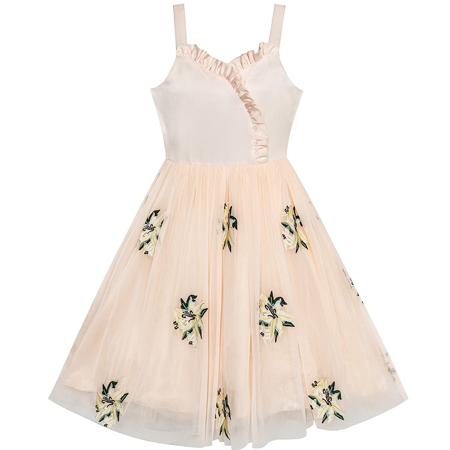 Amazon.com: Sunny Fashion Flower Girl Dress Lily Flower Embroidered Wedding Party Size 6-12: Clothing