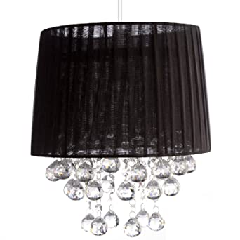 Black voile pendant light lamp shade acrylic droplets balls clear black voile pendant light lamp shade acrylic droplets balls clear aloadofball Images
