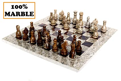 RADICALn 15 Inches Fossil Coral and Dark Brown Weighted Handmade Marble  Most Popular Chess Board Games Set - Classic Style Staunton Home Decor  Chess