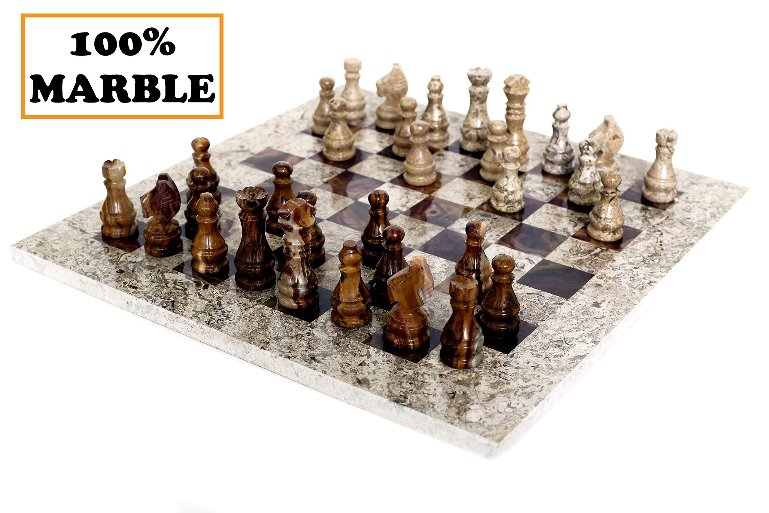 RADICALn 16 Inches Fossil Coral and Dark Brown Weighted Handmade Marble Most Popular Chess Board Games Set - Classic Style Staunton Home Decor Chess Sets - Non Checker Non Go Non Backgammon