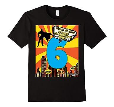 Mens Superhero Birthday Shirts For Boys Size 6 Six Party Theme 2XL Black