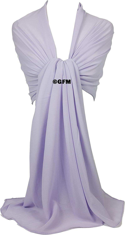 GS GFM Georgette Abend-Schal als Hijab Wickeltuch f/ür Hochzeiten Brautjungfern